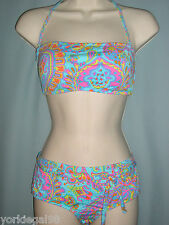 Ralph by Ralph Lauren Misses Sz. Large Multicolored Paisley Print Bandeau Bikini