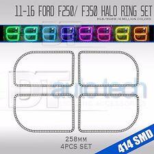 2011-2015 F-250 Bluetooth Multi-Color Angel Eyes LED RGB Headlight Halo Ring Set