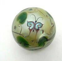 "Lundberg Studios Butterfly Art Glass Paperweight Yellow 2.5"" 1970s"