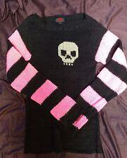 Tripp Skull Black/Pink Knit Sweater sz M