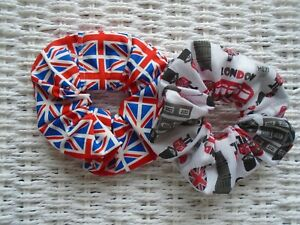 Pack of 2 London & Union Jack Hair Scrunchies Scrunchy Tie Gift Sport Party GB