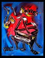 JAZZ piano  by Mark Kazav  Abstract Modern CANVAS Original Oil Painting 34K43