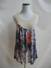 Anthropologie Size M One September Urubamba Tank Multi Color Crochet  Neck