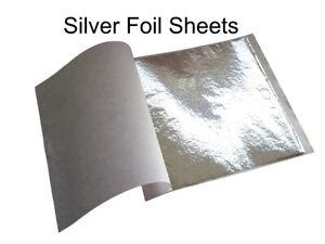 10 Sheets of Silver Leaf Foil Genuine Craft Grade