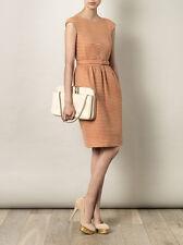 DESIGNER Jonathan Saunders Orange Waffle-Jacquard Shift Evening Dress UK 12/EU40
