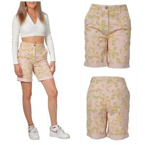 M&S Pale Dusty Pink Leaf Print Long Chino Shorts Size 16 18 20