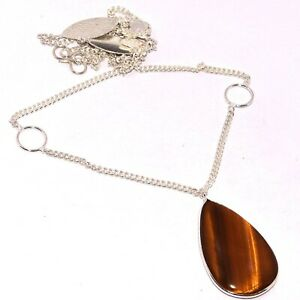 """TIGER EYE 925 SILVER PLATED CHAIN SET 1.5/22"""", S-990"""