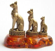 Cognac Baltic Amber 3 Egyptian Sphynx Cat Kittens Brass Animal Figurine