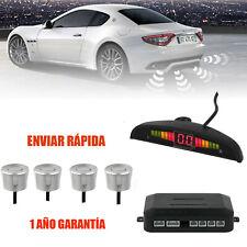 4 Sensor Aparcamiento Estacionamiento LED Radar Trasero Sonido Con Alarma Plata