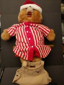 Vintage 1985 Teddy Ruxpin in striped pajamas Untested 1 tape missing mouth