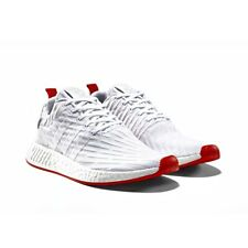 38fc114ab Adidas NMD R2 Primeknit Mens Size 9.5 White Core Red Shoes Boost BA7253