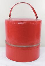 Vintage Hat Wig Box Storage Luggage Zipper Closure Red Vinyl