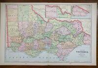 "Vintage 1900 VICTORIA AUSTRALIA Atlas Map 22""x14"" Old Antique BENDIGO MELBOURNE"
