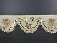NAPPE D'AUTEL ANCIENNE en LIN+TULLE BRODé SEQUINS,PERLES décor de COEUR SACRé