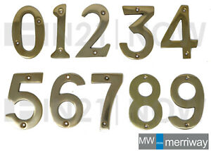 """Polished Lacquere Brass Door Numbers Letters House Flat Shop 75mm 3"""" and Fixings"""