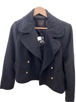 NEW The Limited Wool Pea Coat Jacket Double-Breasted Women's Size Medium M Black