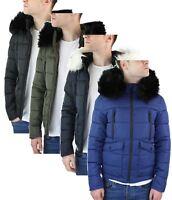 Mens Zip Hooded Fur Jacket Coat Puffer Quilted Warm Winter