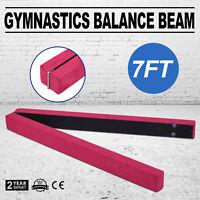 Pink Suede 7FT Gymnastics Folding Balance Beam Gym Training Suede Leather