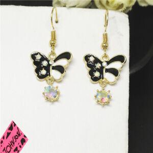 New Black Enamel Crystal Cute Butterfly Girl Betsey Johnson Women Stand Earrings