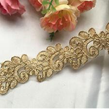 1 Yard Gold Flower Embroidery Lace Trim For Wedding Dress Bridal Veil DIY Craft