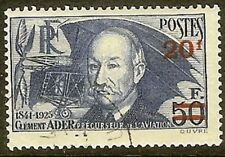 """FRANCE TIMBRE STAMP N° 493a """" CLEMENT ADER 20F S. 50F PAPIER MINCE """" OBLITERE TB"""