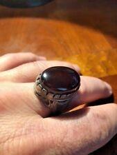 Islamic ring from Yemen dark agate Khabdi. Old Vintage ring