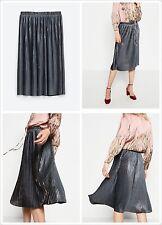 zara mujer NUEVO aw16 Colección plisado Medio malva falda plata Talla M