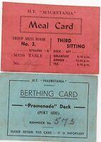 .WW2 HT MAURETANIA SOLDIERS MEAL CARD & BERTHING CARD L/CPL W C MATTHEWS, BATMAN