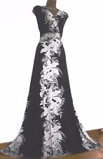 MONSOON ✩ STUNNING BLACK & IVORY PALM FLORAL STRETCH MAXI SUMMER DRESS ✩ UK 18