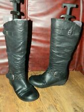 girls Skechers black synthetic pull on/zip up wedge boots uk 3 eur 36