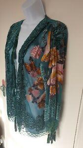 Kimono Devore 100% silk velvet beaded tassel turquoise green pink Medium