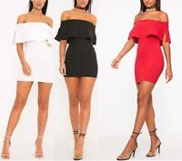 New Ladies Womens Carley Bardot Frill Bodycon Dress Size 8,10,12,14,16