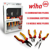 WIHA VDE Pliers/Side Cutters/Long Nose Heavy Duty Combination 1000v-38637