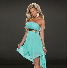 Sexy Women Light Blue Long Chiffon Dresses Backless Condole Ball Gown From XXL