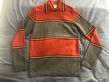 Large DRIES VAN NOTEN Border Striped COLOR BLOCK Collared WOOL SWEATER Jumper
