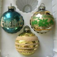 Lot of 3 Shiny Brite Vintage Mercury Glass Christmas Ornaments; Stencils,Stripes