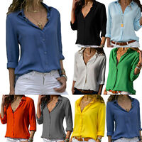 Women Chiffon Casual Loose Shirt V neck Long Sleeve Tops Button Blouse OL Work