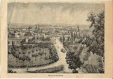 Stampa antica CITTA' DI CASTELLO veduta panoramica Perugia Umbria 1897 Old Print