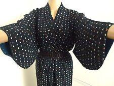 Auténtico Vintage Japonés Kimono de seda azul marino para mujeres, importado de Japón (H703)