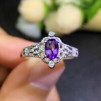 2Ct Oval Cut Amethyst Solitaire Engagement Wedding Ring 14k White Gold Over