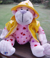 GANZ Webkinz Pink Love Monkey Hearts Cute Yellow Rain Coat & Hat