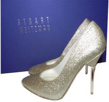 Stuart Weitzman Pointed Toe Dress Pump- Evedagger Metal Heel Shoe 6 Glitter Gold