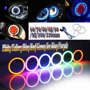 2x Car COB LED Angel Eyes Halo Ring Light DRL White/Yellow/Blue/Red/Green/Purple