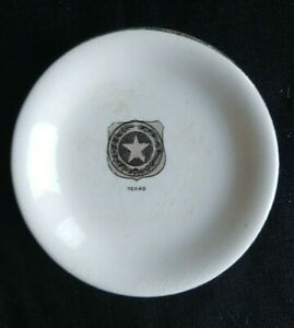RARE ANTIQUE TEXAS COAT OF ARMS CERAMIC BUTTER PAT TRANSFERWARE GOLD RIM STAR TX