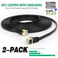 2x Cat 7 Ethernet Cable Lan Network Patch Cord 10Gbps - 6ft 25ft 50ft 100ft Lot