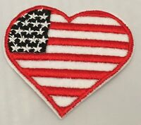 USA Flag Heart Ameica Small Iron On / Sew On Patch Badge 6 x 5.5cm United States