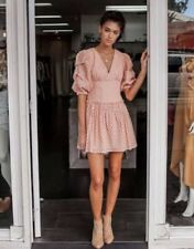 BNWT Steele Chiara Broderie Eyelet Ruffle Mini Dress in Nude Size Small Party