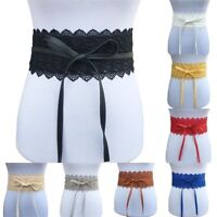 Women's Stretch Buckle Waist Belt Bow Lace Elastic Tie Wide Corset Waistband