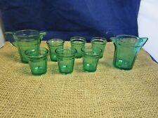 Vintage 8 Piece Set Miniature Green Depression Glass Pitcher/Glasses  Doll Size