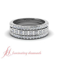 .50 Carat Round Cut Diamond French Pave Trio Band Stackable Ring In Platinum